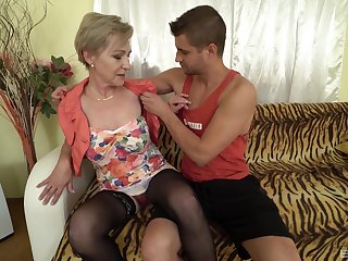 Mili enjoys rough sex with her horny neighbor after a blowjob