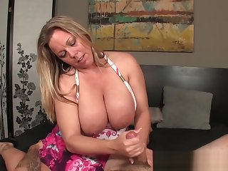 Curvy mature jerking dick and shows huge tits