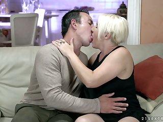 Lustful granny Bibi Pink is having crazy sex fun with young student living nextdoor
