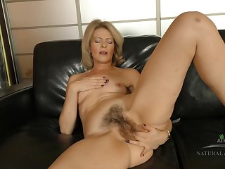 Housewife Coochie On Leather Couch - blond hair lady