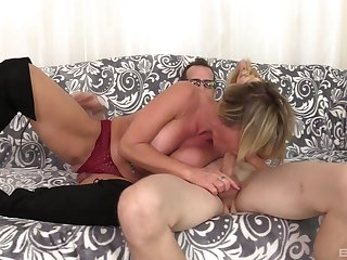 Mature Brandi Fox's big tits will ride his big cock wildly