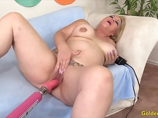 Horny mature sluts enjoy their aged pussies being reamed by fucking machines