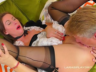 A real delight for the man to fuck his mature maid
